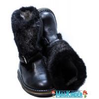 Унты Фома кожаные черные с мехом и пряжкой