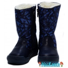 Сапоги Фома зимние синие, болонь и кожа