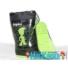 Сапоги резиновые Капика, черные с зеленым мальчиком